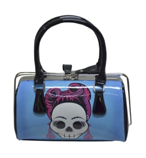 Handtasche/Henkeltasche /Rockabilly Bag blue Skull