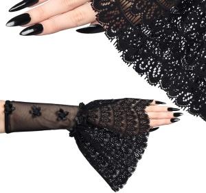 Gothic Armstulpen Netz und Spitze Sinister