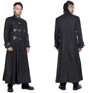 Herrenmantel Closure Coat Black Pistols