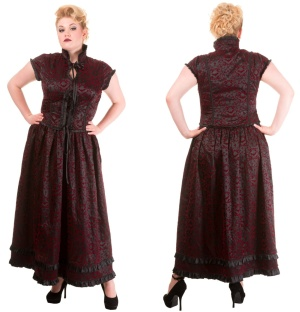 Vintage Gothic Kleid Ivy Pattern Plussize Banned