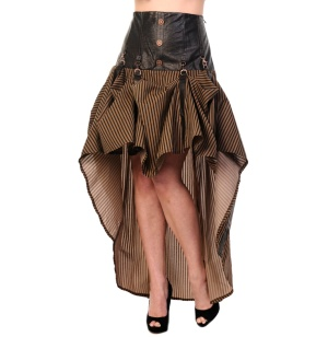 Brown Stripe Steampunk Skirt Banned