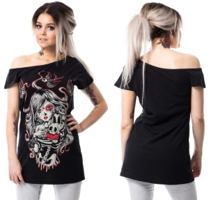 Girl Shirt Cat Muerte Cold Shoulder Tshirt Vixxsin