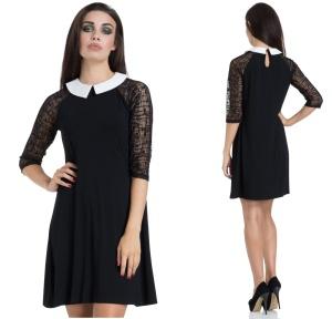 Wednesday Kleid mit weissem Bubikragen Jawbreaker