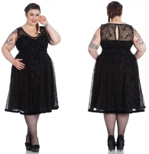 Amarande Dress/Kleid Spinnennetz Plussize Hellbunny