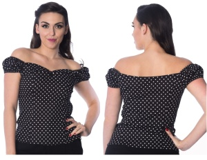 Damen Rockabilly Bluse gepunktet Banned