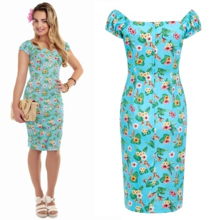 Pencil Dress/Bleistiftkleid Hawaii Blumen Collectif Rockabilly