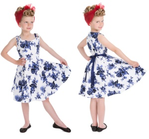 Rock n Roll Kleid blue Flower Kinder H&R London