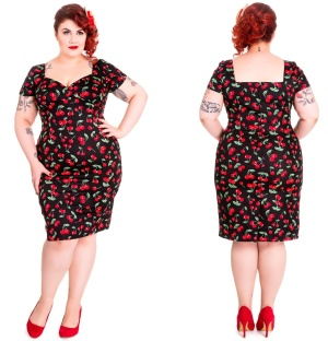Pencil Dress Cherry Pie/Vintagekleid Plussize Hellbunny