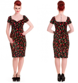 Pencil Dress Cherry Pie Vintagekleid Hellbunny Rockabilly