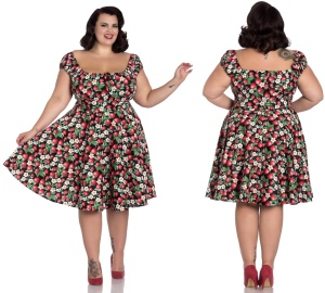 Strawberry/Erdbeere Sundae Mid Dress Rock n Roll Kleid Übergrösse Hellbunny