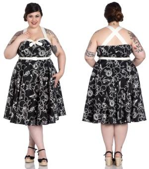 Rockn Roll Kleid Neckholder Kleid Nautik Hellbunny Plussize