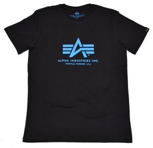 Alpha Industries T-Shirt 100501 schwarz mit blauem Aufdruck