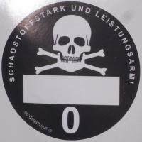 Aufkleber alternative Feinstaubplakette Schadstoffstark und
