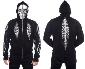 Full Zip Hoodie Skelett Männer Banned