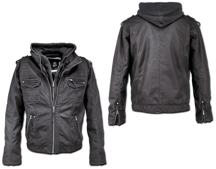 Brandit Black Rock Hooded Leather Jacket