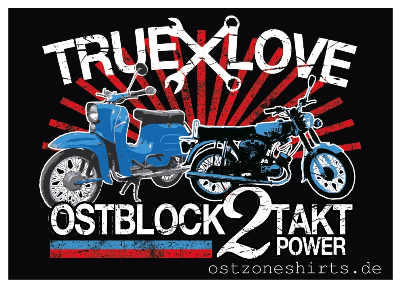Aufkleber True Love Ostblock 2 Takt Power 10er Pack