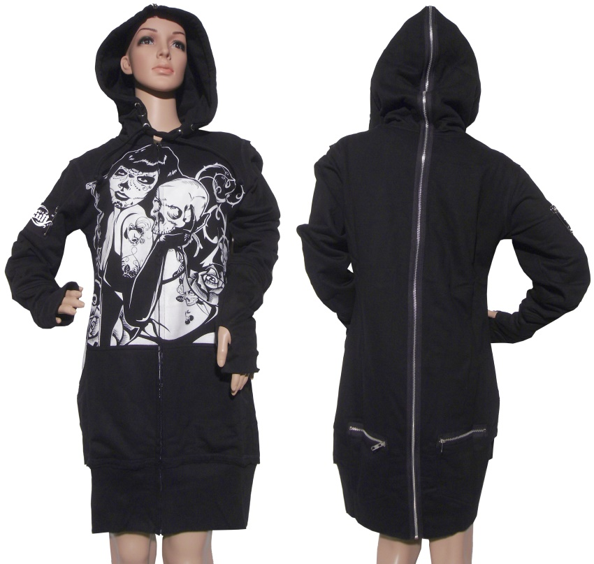 Ladies Longjacket mit Kapuze Evil Clothing
