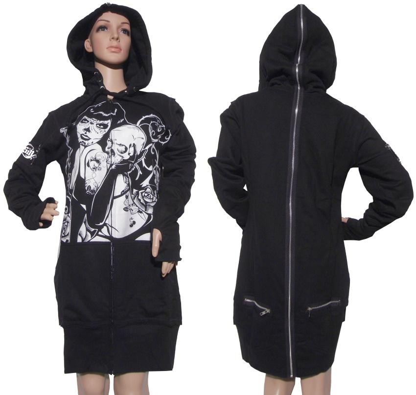 Ladies Longjacket mit Kapuze Evil Clothing