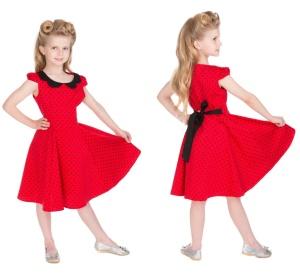 Rockn Roll Rockabilly Kleid/Dress Polka Dot Kinder H&R Lon