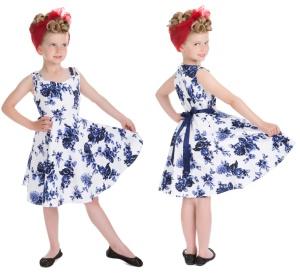 RocknRoll Kleid Blue Flower Kinder H&R LondonRockabilly Rock