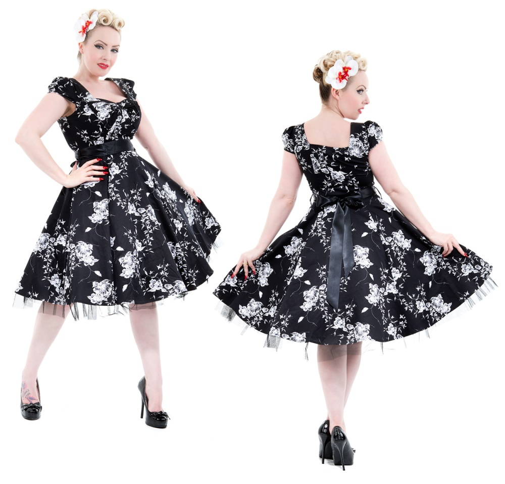 Rock n Roll Kleid Flower H&R London Rockabilly - H&R London Kleider ...