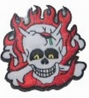 Aufn�her Totenkopf Flammen Skull and Flames