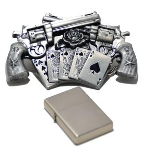 Gürtelschnalle Guns n Cards mit Benzinfeuerzeug