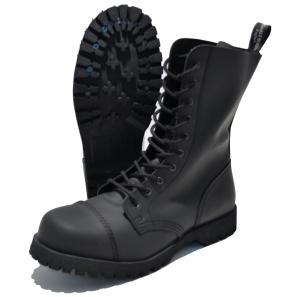 Boots & Braces 10-loch Stiefel Flat matt-schwarz
