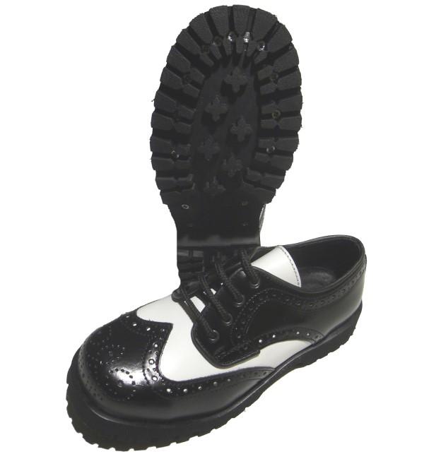 size 40 bd257 a32bb Boots & Braces 4 Loch Budapester Schuh in schwarz/weiss ...