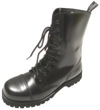 Boots and Braces 10 Loch Boots/Stiefel schwarz / glänzend Stahlkappenstiefel für Punks Skins und Gothic Fans