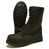 Phantom / Brandit Nubuk-Leder Boots 10-Loch mattschwarz