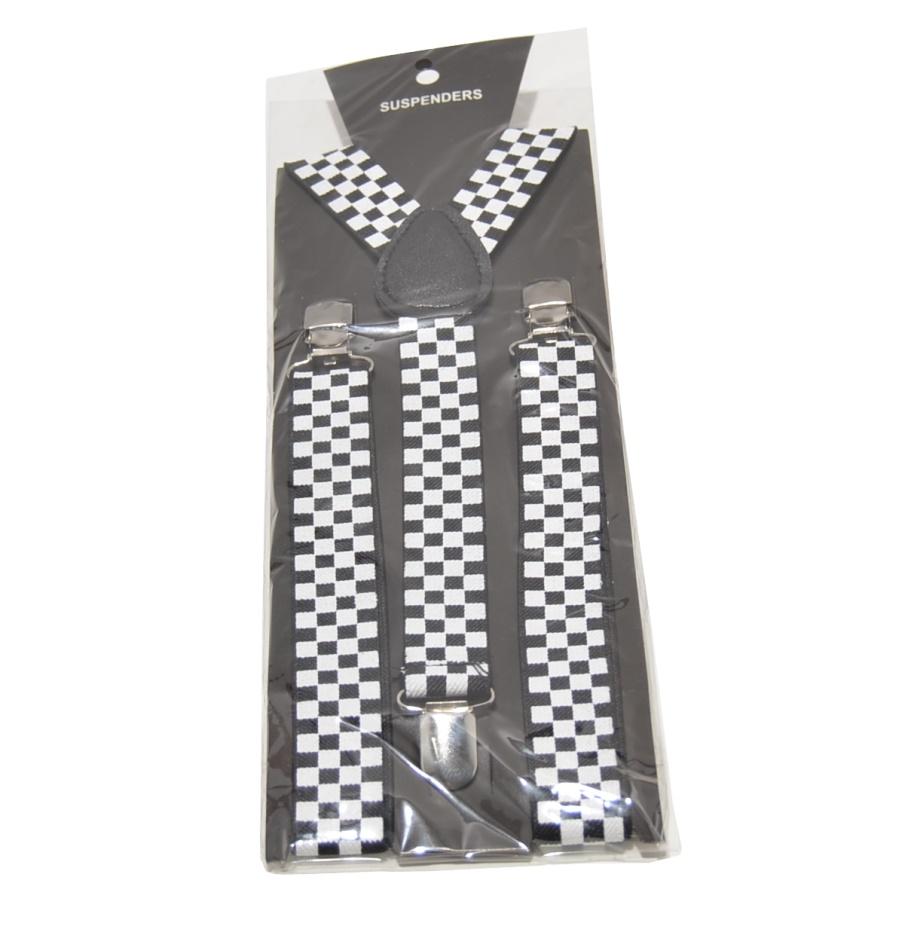 karrierte Hosenträger schwarz/weiß