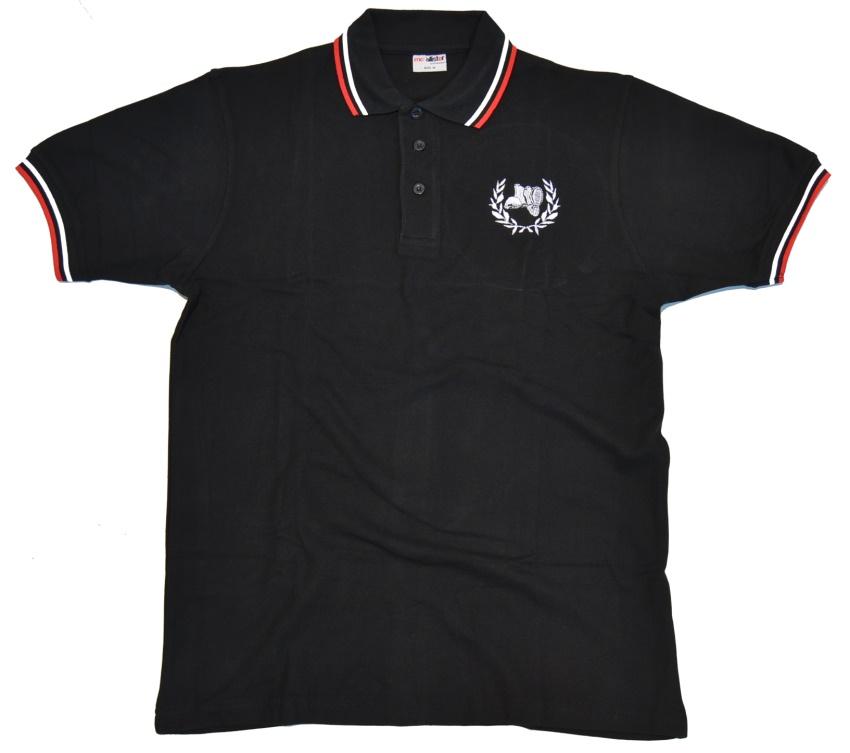 Polo-Shirt Stiefel Kranz gestickt