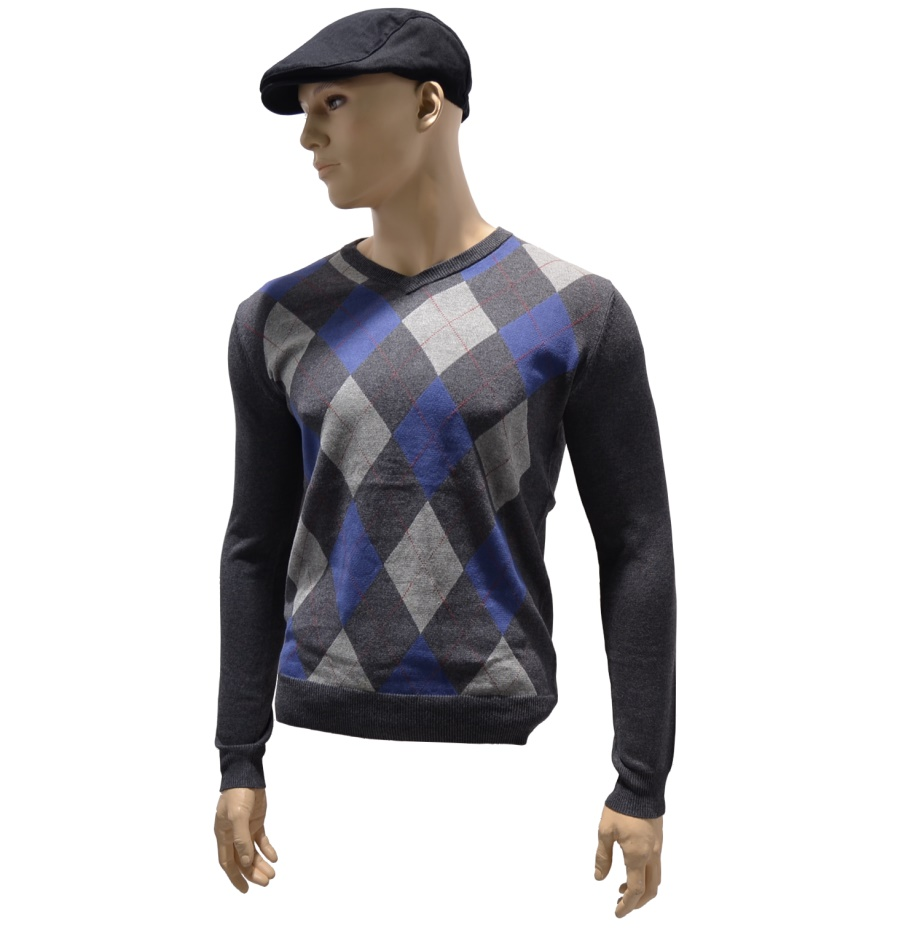 Warrior Clothing V-Neck Pullover Argyle Style